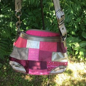 Coach patchwork leather suede bag pinks